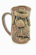 An item in the Pottery & Glass category: Stoneware Ugly Funny Face Mug  Moustache Eyebrow Ice Pack Pottery Signed Thorson