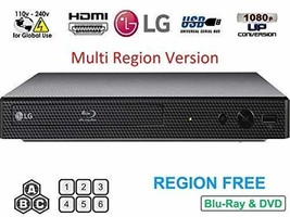 LG BP175 Region Free Blu-ray Player, Multi Region 110-240 Volts, 6FT HDMI Cable  - $234.34