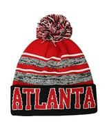 Atlanta Men's Blended Stripe Winter Knit Pom Beanie Hat (Black/Red) - $13.75