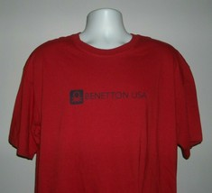 Benetton USA T Shirt Medium 100% Cotton Red - $21.73