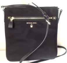 NWT Michael Kors Kelsey Nylon Leather Crossbody HANDBag Purse Damson NEW - $45.99