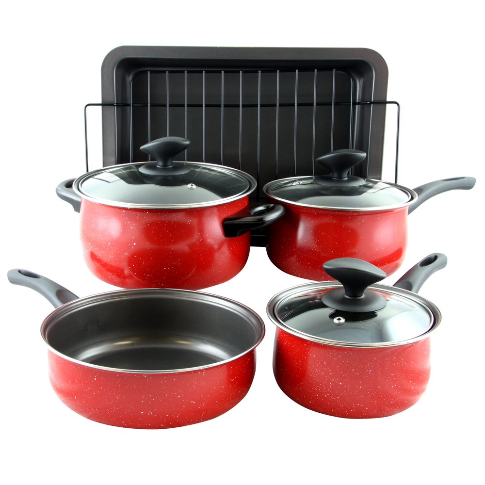 Primary image for Sunbeam Kelfield 9 piece Nonstick Cookware Set in Red with Bakelite Handle/Knob