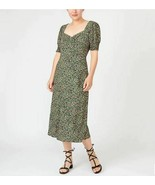 New J Crew Black Green Pink Floral Sweetheart Neck Smocked Sleeve Midi D... - $59.39