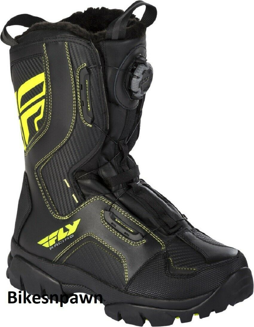 New Mens FLY Racing Marker Boa Black/Hi Viz Size 8 Snowmobile Winter Boots -40 F