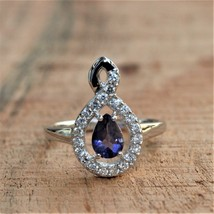 925 Sterling Silver Natural Fine Quality Blue Sapphire And Cz Gemstone Handcraft image 1