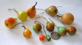 Vintage Xmas Craft Ornament Mixed Lot 11 Pears Picks Rubber Lacquer Hard Plastic - $14.84