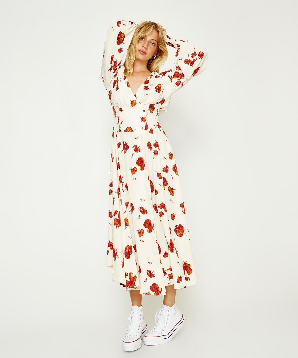 NWT FREE PEOPLE SO SWEETLY CREAM COMBO FLORAL PRINT MIDI DRESS S