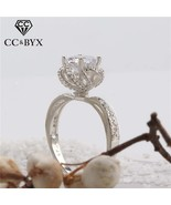 CC S925 Silver Rings For Women Rose Flower Bud Trevi Fountain Luxury Bar... - $12.69