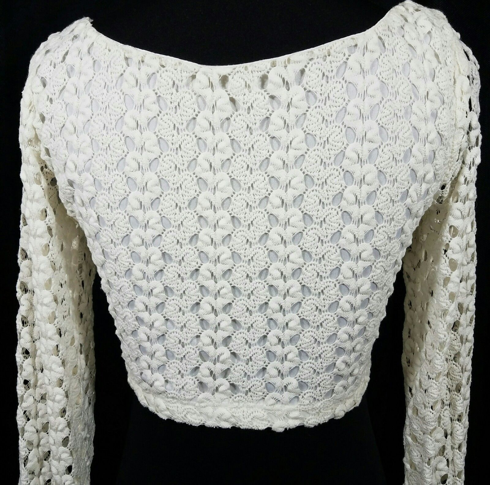 White Knit Crochet Midi Top Long Sleeves Round Neckline Size S NWOT