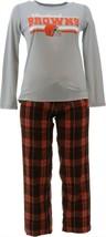 NFL Women's Pajama Set Long Slv Top Flannel Pants Browns L NEW A387687 - $30.67