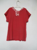 Tommy Hilfiger Girl's Size Large 100% Cotton Solid Red Short Sleeve Shirt - $20.80