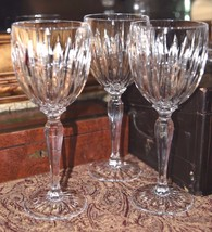 3 HEAVY Ribbed Crystal CLEAR WINE GLASSES GLASSES WEDDING VALENTINE QUAL... - $59.99