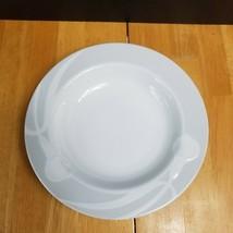 Mikasa Classic Flair Gray Rim Soup Bowl White Embossed Calla Lilles Helena Uglow - $11.88
