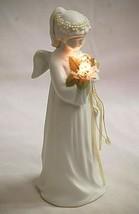 Vintage Porcelain Lighted Angel Figurine Beaded Headdress Christmas Tabl... - $32.66
