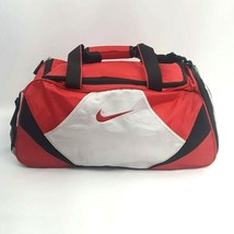 Nike Swoosh Duffle Gym Bag  Red Black White Shoulder Crossbody Shoe Comp... - $23.06