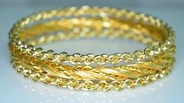 VTG Set of Three 3 Gold Tone Chain Link Twisted Heavy Bangle Bracelets - $24.75