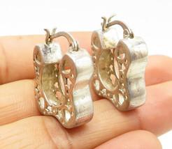 925 Silver - Vintage Love Heart & Star Cutout Detail Hoop Earrings - E5838 - $29.55