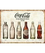 Coca Cola Advertising Bottle Evolution Distressed Vintage Style Metal Ti... - $14.99