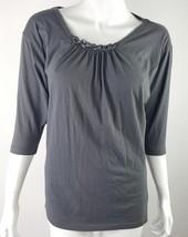 Gap Womens Size Small Gray Pleated Chain Decor Neckline 3/4 Sleeve Blouse EUC - $13.09