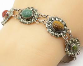 925 Silver - Vintage Tiger's Eye Lapis Lazuli & Jasper Chain Bracelet - ... - $57.93