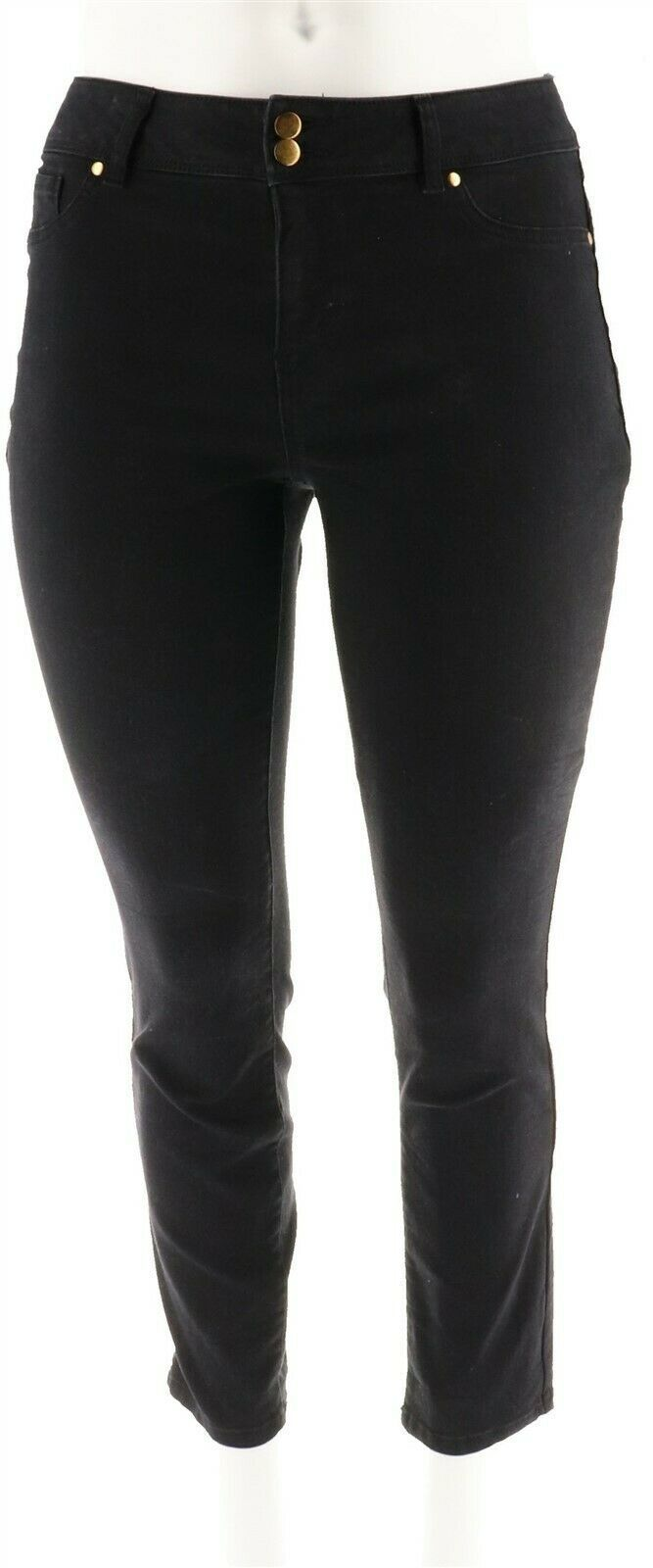 Primary image for IMAN Global Curve Luxury Denim Ankle Pant Zipper Jet Black 12 Avg NEW 546-857