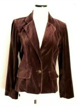 Cotton Brown Velvet Jacket Size 4/6 Collared V-Neck Button Up Flap Pockets  - $13.86