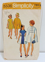 SIMPLICITY Vtg Sewing Pattern 5536 Girls Princess Seam Dress & Cape Coat... - $33.37