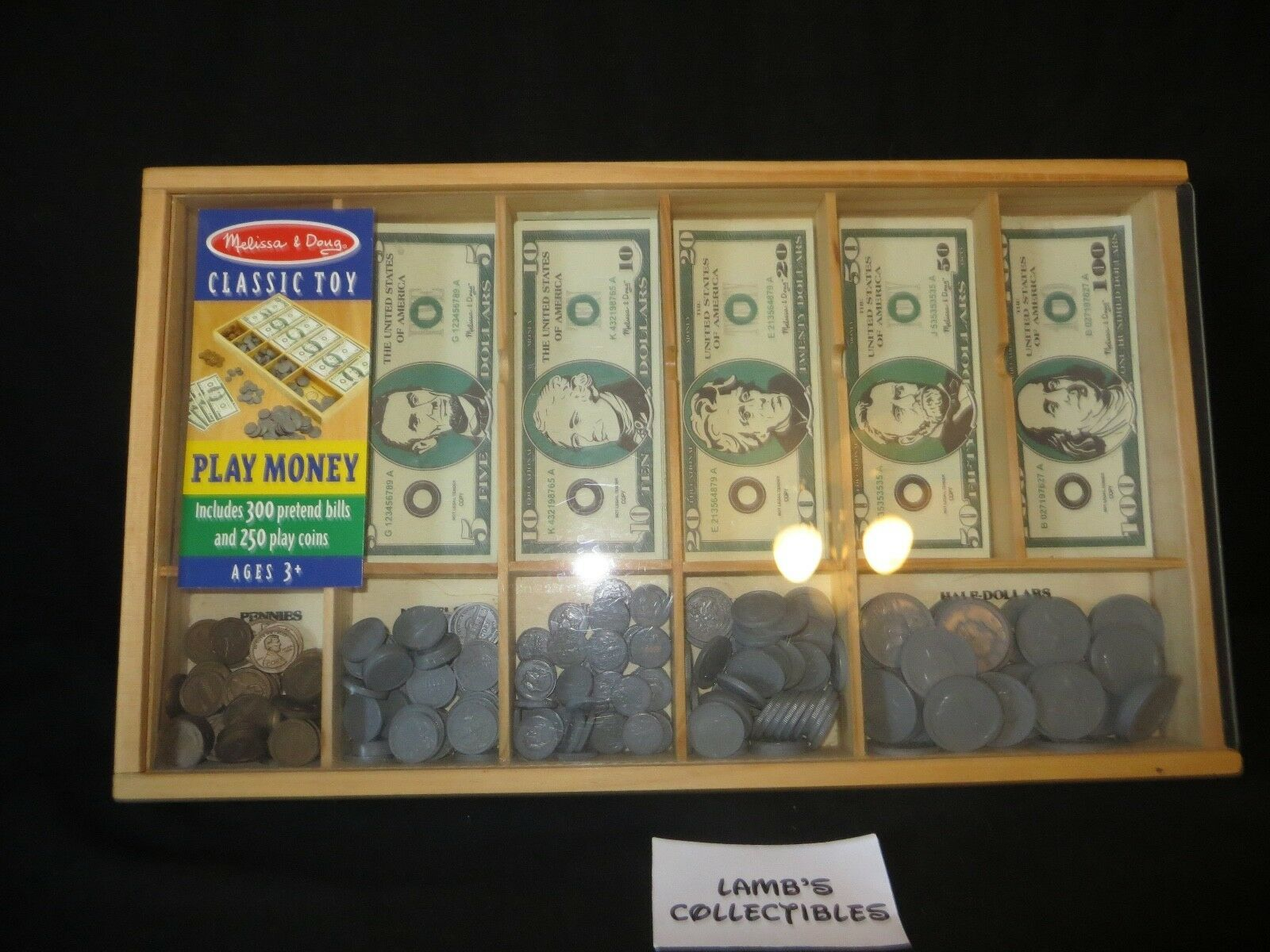 Primary image for Melissa & Doug classic toy play money in wooden case approx 300 pretend bills