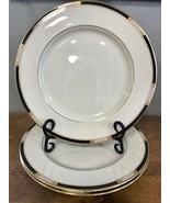 """Set of 3 Lenox Hancock Presidential Dinner Plates Black Gold Beaded 10.5"""" - $121.54"""