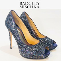 Badgley Mischka Glittery Peep Toe High Heels Shoes Size 7 | 09127 - $47.50