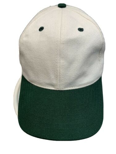 Primary image for Blank Off White Green Head Shot Adjustable Adult Baseball Ball Cap Hat NEW