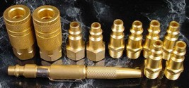 "11pc 1/4"" Solid Brass Air Quick Coupler Set w/ Blow Gun Tool Plugs Couplers Npt - $17.99"