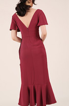 Red Cap Sleeve Long Cocktail Dress Chiffon High Waist Wedding Guest Shift Dress image 5