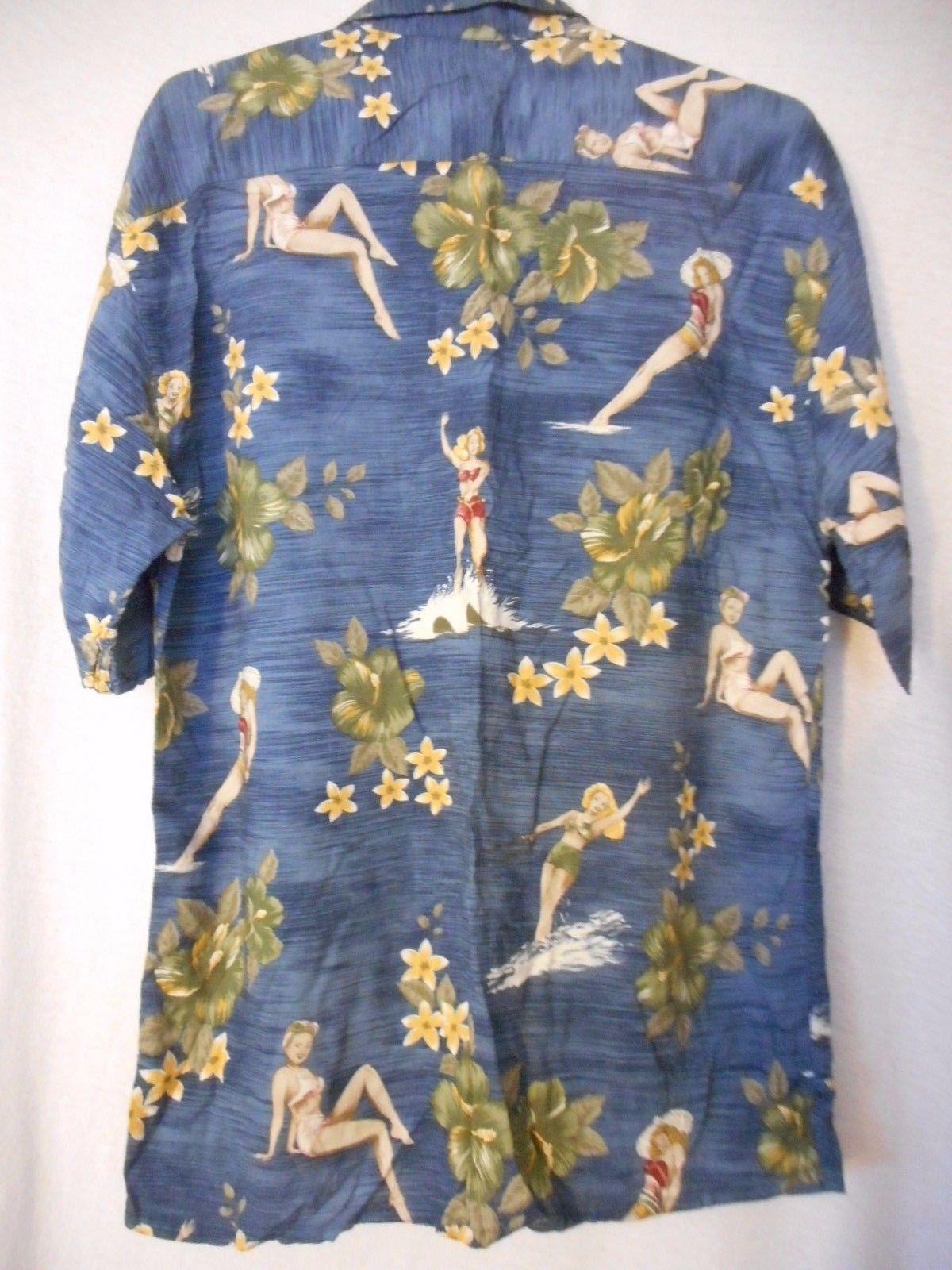 Hawaiian Shirt Sz M Campia Moda Destination Wedding bathing beauties Blue Rayon
