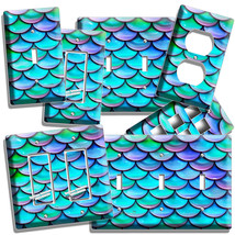 Mermaid Tail Fish Scales Pattern Light Switch Outlet Wall Plates Room Home Decor - $10.99+