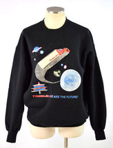 Vintage 80s Black TRANS AM Semi Truck Outer Space Ship Retro Sweat Shirt... - $141.62 CAD