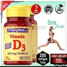 2x 10000 IU VITAMIN D3 250 mcg Bones Muscle Supplement 200 Softgels Pipi... - $15.83