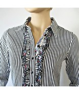 Blouse Navy Striped Ruffle Front Stretch Lafei-Nier Button Front Size XS - $26.00