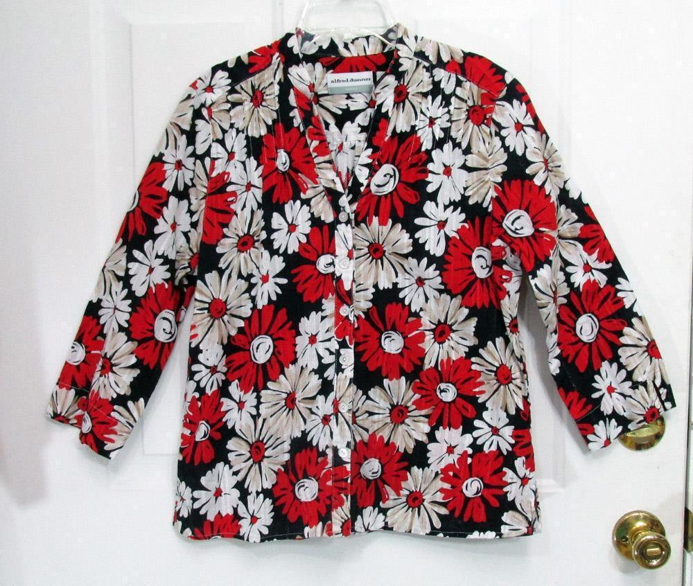 New Sz 12P Alfred Dunner Womens Red Black White Flowers Cotton Button Top Blouse