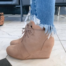 Taupe Oxford Wedge Ankle Bootie  - $34.99