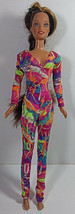 Vintage Barbie Doll Clothing Bodysuit Romper Multicolor Glitter Ice Skating Gym - $9.99