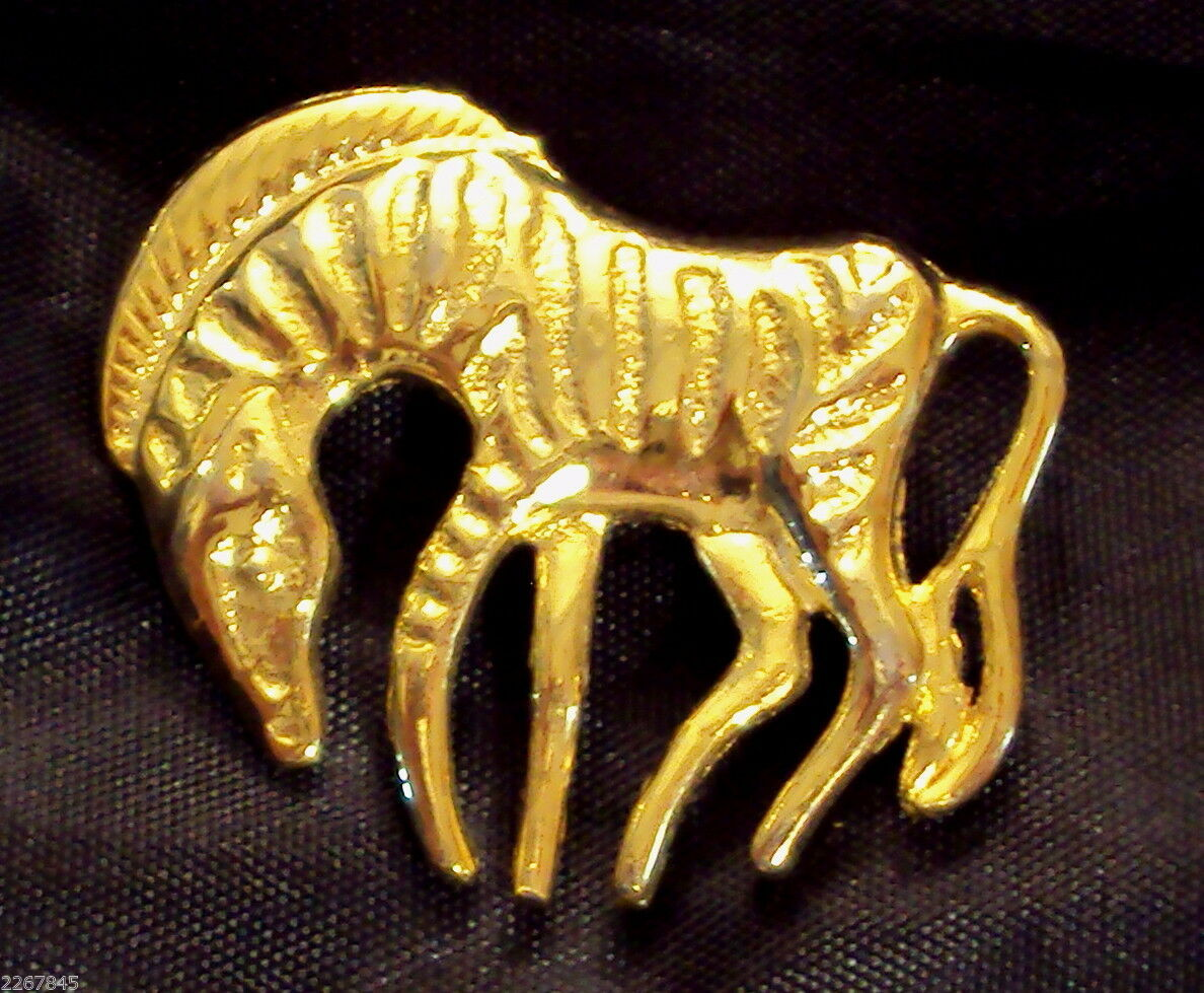 "Primary image for Zebra Horse Scatter Pin 1 3/4"" Figural Brooch VTG Gold Plate Art Deco"