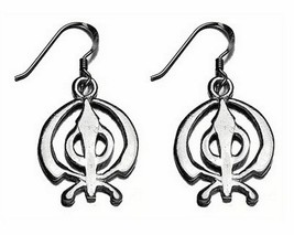 LOOK BEAUTIFUL Sterling Silver 925 Sikh Khanda charm earring - $27.87