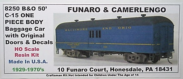 Funaro & Camerlengo HO B&O C-15 50' Baggage original door ONE PIECE BODY Kit 825