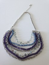 """multi strand chains of purple & blue beads necklace 22"""" - $24.99"""