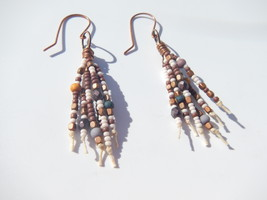 Beaded Fringe Dangle Earrings, Glass Seed Beads, Fire Polish Beads, Copp... - $15.00