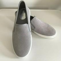 Michael Kors Slip on Shoe MK LOGO Women's Leather Slip On Sneakers Gray Size 7.5 - $46.41