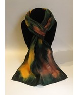 Hand Painted Silk Scarf Sunburst Yellow Green Brown Women Rectangle Uniq... - $46.00