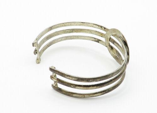 925 Sterling Silver - Vintage Dark Tone Circle Detail Cuff Bracelet - B6173 image 3