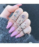 boho vintage silver color stone midi finger rings ethnic gothic knuckle set for women thumbtall